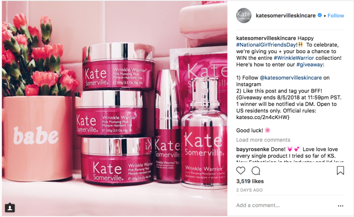 Photo of kate somerville giveaway on instagram.